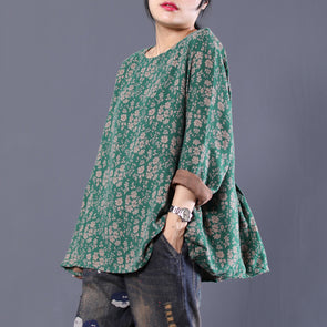 Floral Print Loose O-neck Long Sleeve Blouse