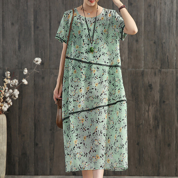 Floral Print Round Neck Comfortable Casual Dress