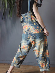 Floral Printed Burr Casual Loose Jumpsuit