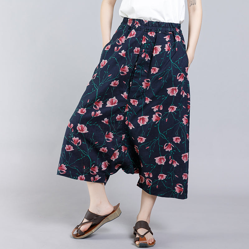 Floral Printed Casual Comfortable Cross Pants