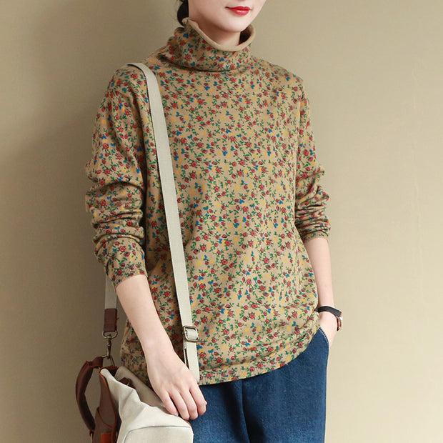 Floral Printed Casual Comfortable Knit Shirt