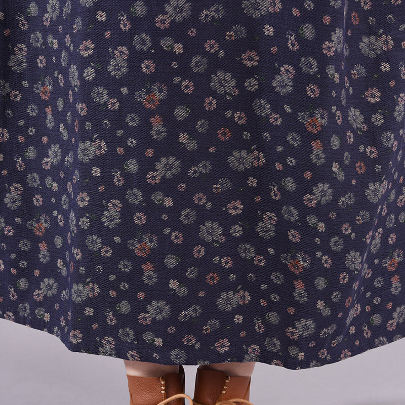 Floral Printed Chinese Button Retro Dress