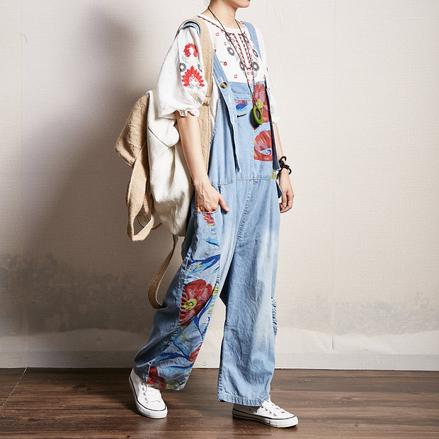 Floral Printed Frayed Casual Loose Jumpsuit