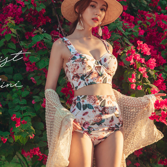 Floral Printed High Waist Push Up Swimwear