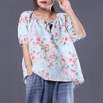 Floral Printed Lacing Loose V-Neck T-Shirt