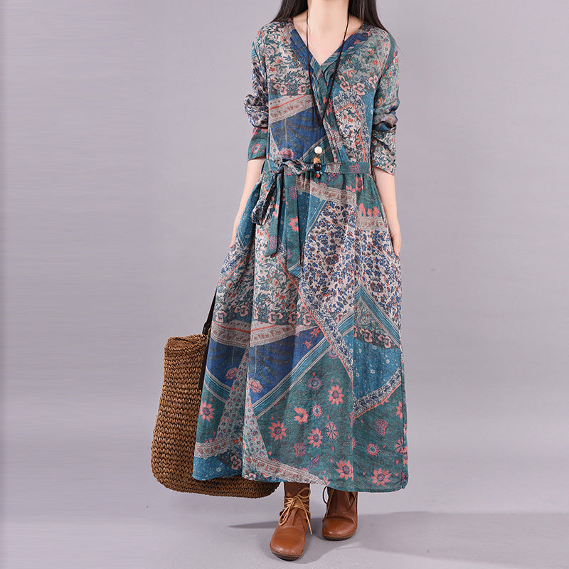 Floral Printed Lacing Ramie Dress