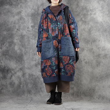 Floral Printed Large Pockets Retro Hooded Coat