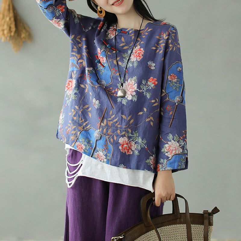 Floral Printed Skin-friendly Linen Shirt