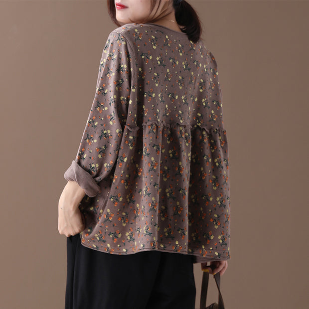 Floral Printed Spliced Loose Knit Coat