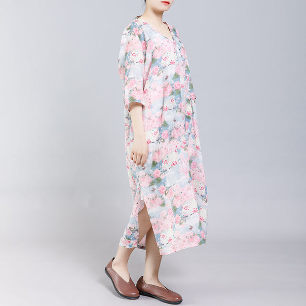 9b3a36d07 Floral Printed Split Chinese Style Midi Dress – BUYKUD