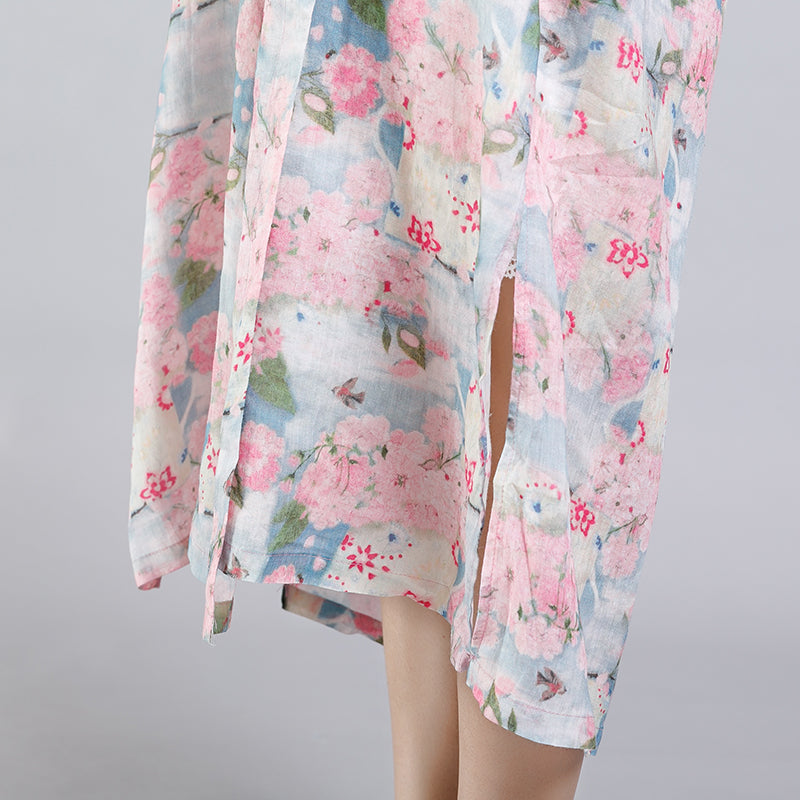 Floral Printed Split Chinese Style Midi Dress