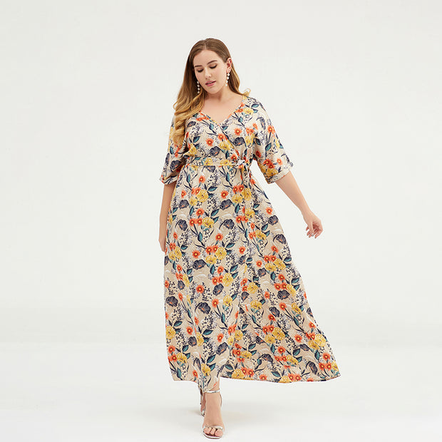 Floral Printed Split Smooth Comfortable Plus Size Dress