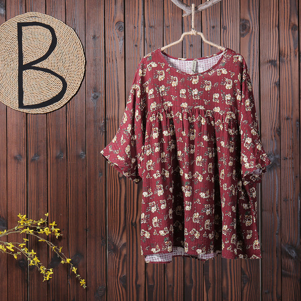 Floral Printing Casual Pleated Pullover T-Shirt