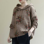 Floral Retro Casual Hooded Knit Sweater
