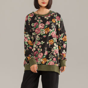Floral Vintage Cotton Print Short Female Shirt