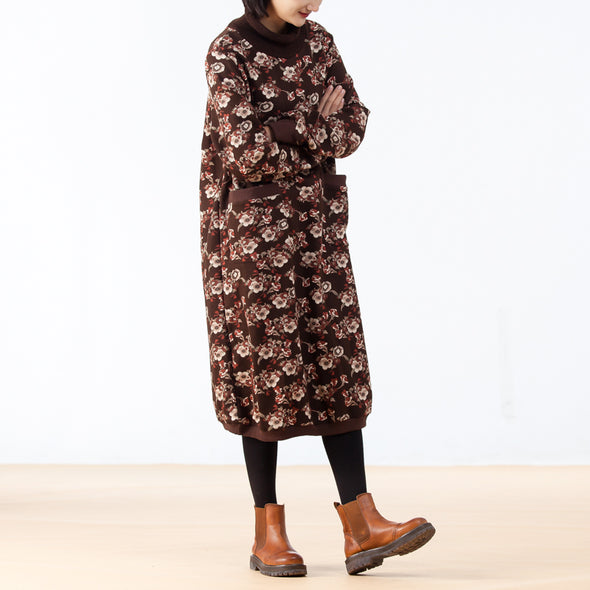 Floral Vintage Loose Winter Long Sleeve Dress