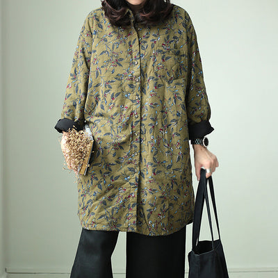 Floral Vintage Women Cotton Coat