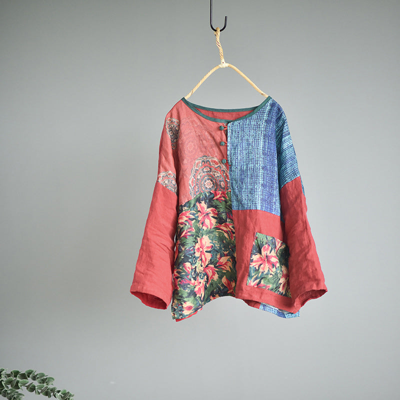 Flower Color Contrast 100% Linen Blouse