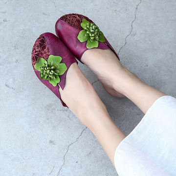 Flower Decor Breathable Leather Slippers