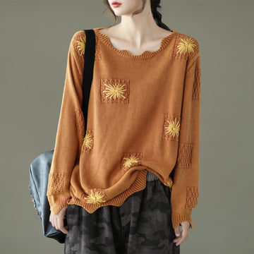 Flower Embroidery Knitted 100%Cotton Sweater