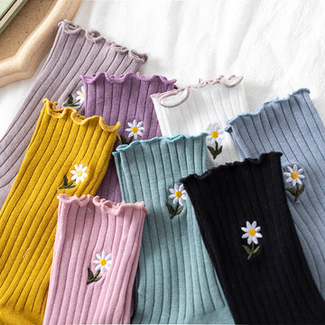 Flower Embroidery Spring Summer Cotton Socks - 3 Pairs