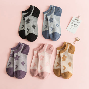 Flower Jacquard Cotton Ankle Socks - 5 Pairs
