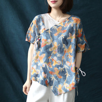 Flower Print Linen Irregular Stitching Drawstring T-shirt