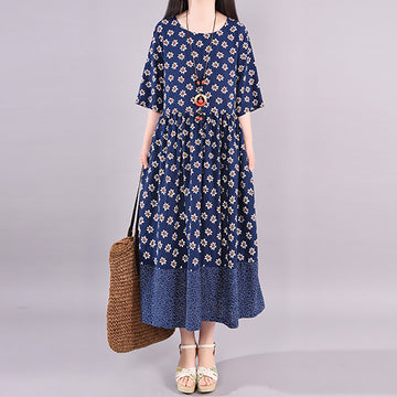 Flower Print Splicing Cotton Linen Midi Dress