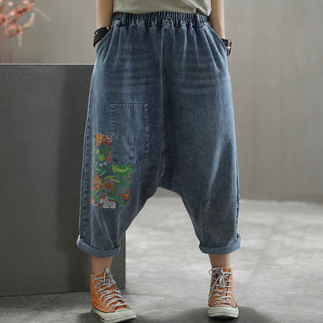 Flower Printed Hole Low-cut Crotch Jeans