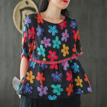 Flower Prints Splicing Loose Ramie T-shirt