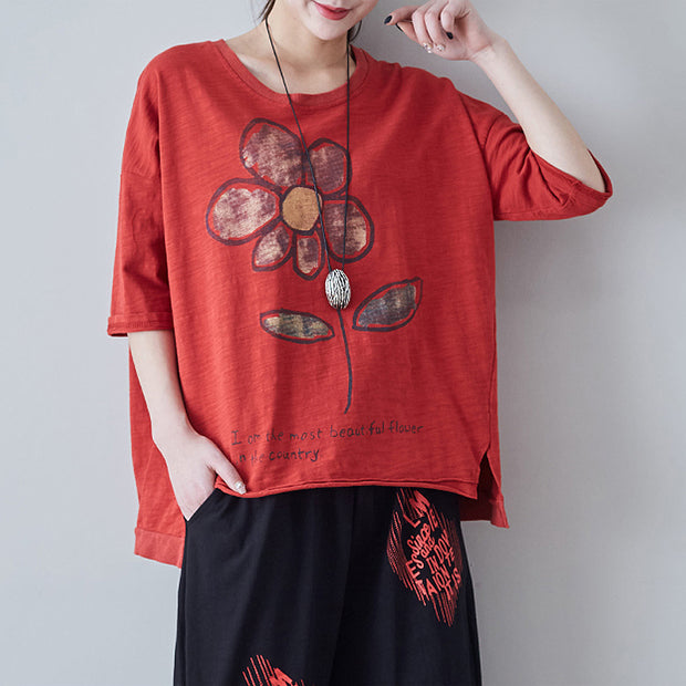 Flower And Letter Printed Split Loose T-Shirt