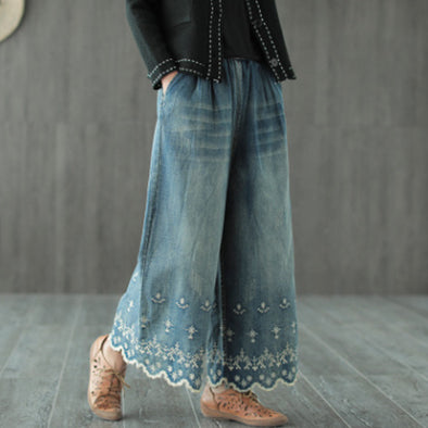 Flower Embroidery Cotton Wide Leg Pants