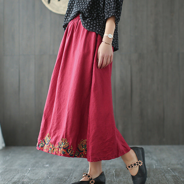 Flower Embroidery Linen Loose Pockets Skirt