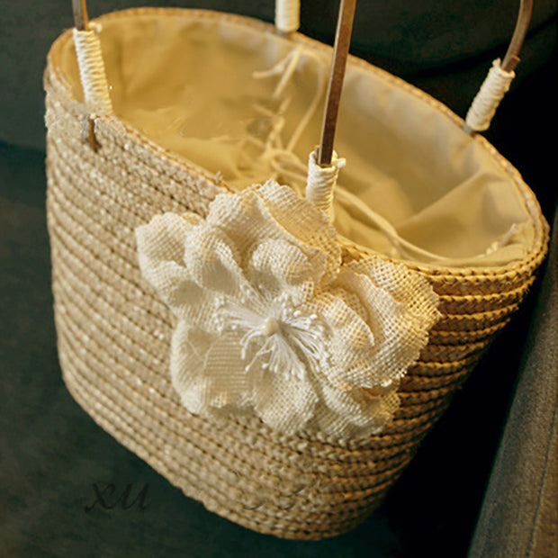 Flower Holiday Tote Beach Straw Weave Bag