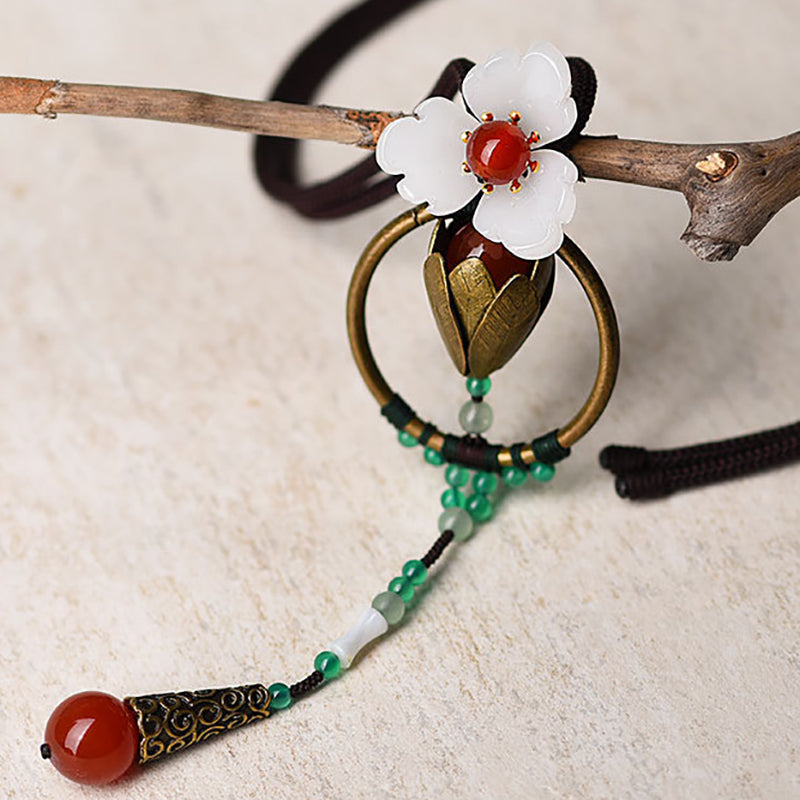 Flower Jade Pendant Casual Necklace