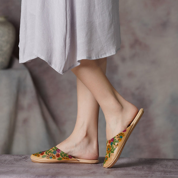 Flower Leather Soft Bottom Indoor Slippers