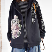 Flower Letter Printed Casual Zipper Coat