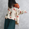 Flower Print Women Spring Cotton Long Sleeve T-shirt