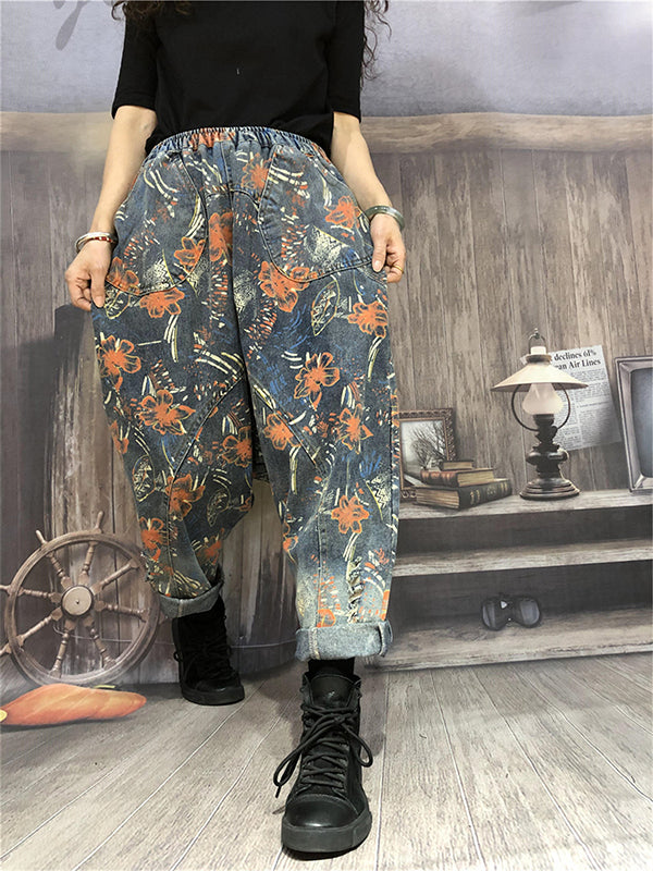 Flower Printed Low-cut Crotch Jeans