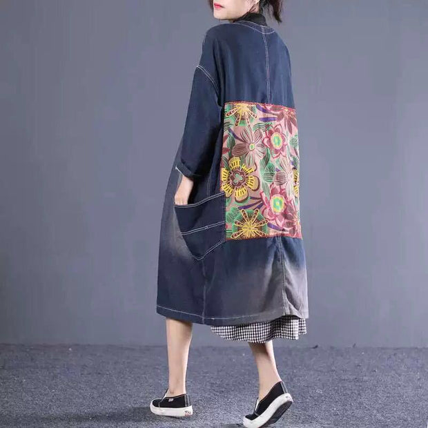 Flower Printed Patchwork Retro Casual Denim Coat