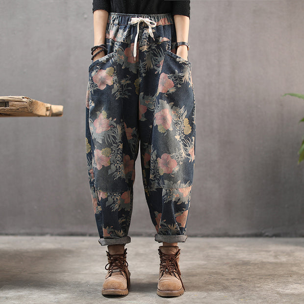 Flower Printed Retro Plus Velvet Harem Pants