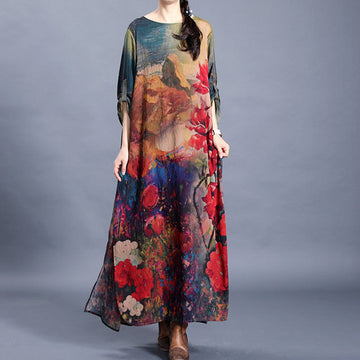 Flower Printed Retro Split Hem Silk Dress