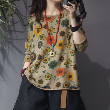 Flower Printed Round Collar Soft Knit Shirt