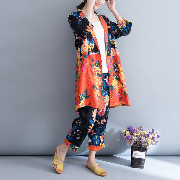 Flower Ramie Casual Women Suit Plus Size