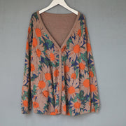 Flower V-Neck Loose Comfortable Knitted Shirt