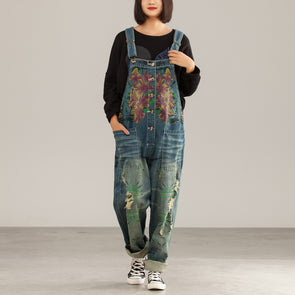 Flowers Casual Female Denim Holiday Jumpsuits