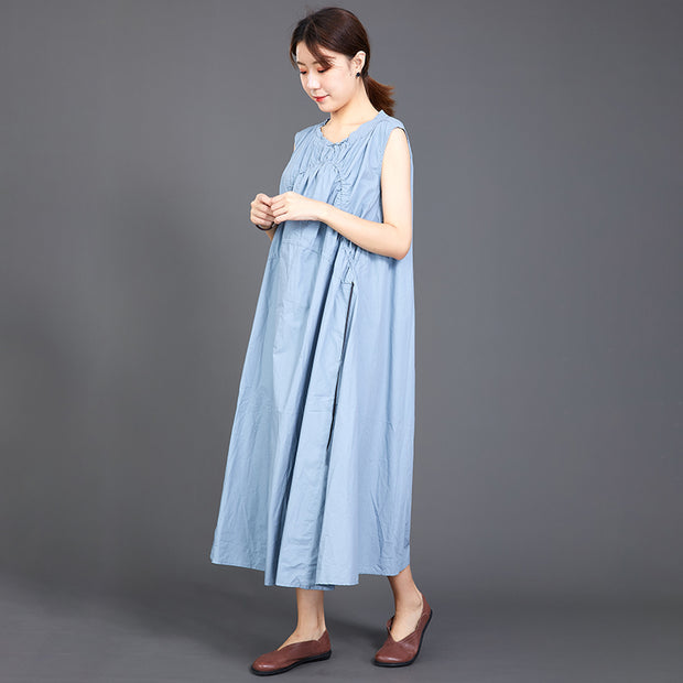 Folded Lacing Irregular Splice Solid Color Dress