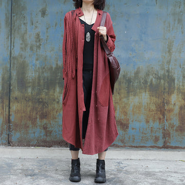 Folded Ribbon Design Casual Solid Color Coat