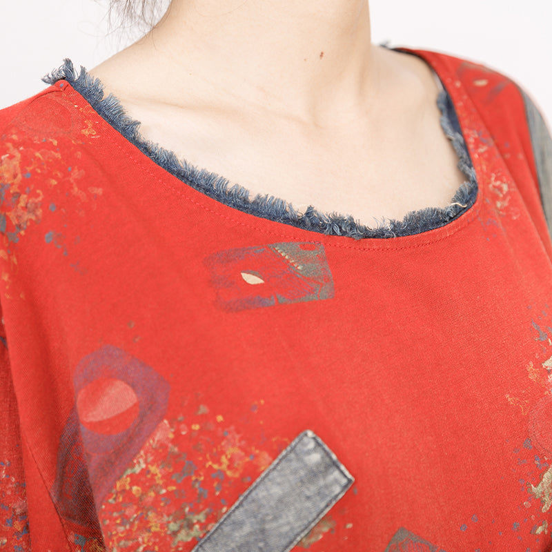1970c0edaed1 Frayed Printed Patchwork Casual Soft T-Shirt