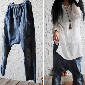 Frayed Retro Casual Solid Color Harem Jeans